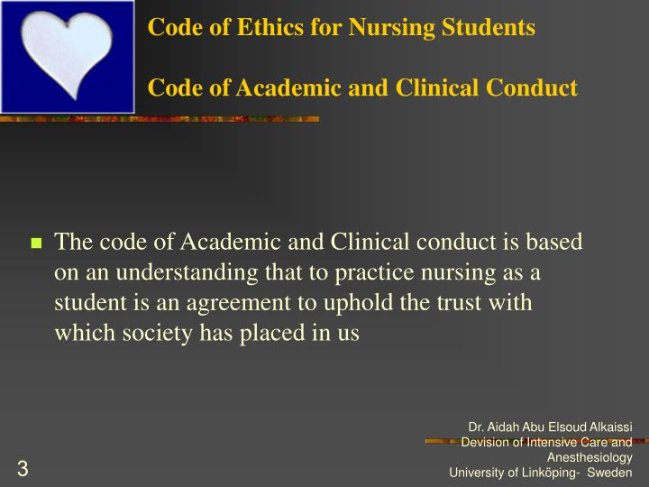 Code of ethics for nursing students code of academic and clinical conduct