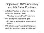 objectives 100 accuracy and 0 false positives