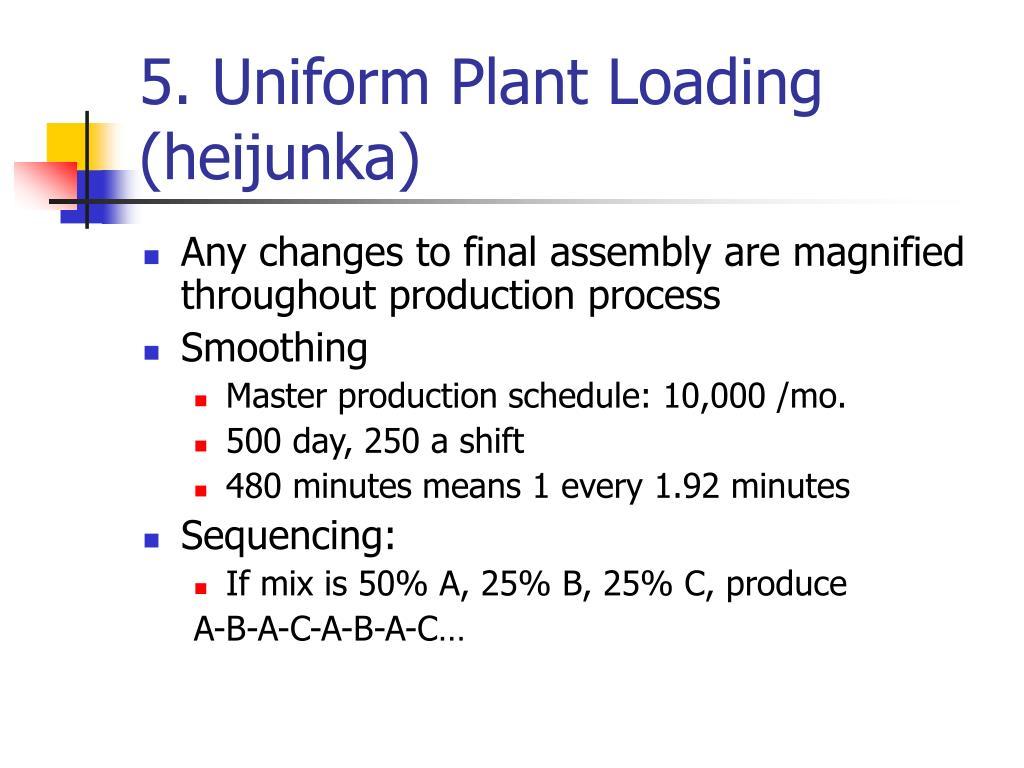 5. Uniform Plant Loading (heijunka)