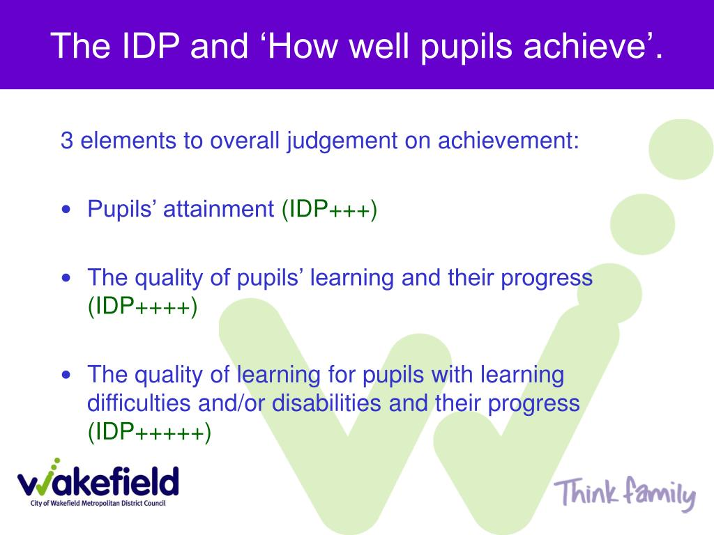 The IDP and 'How well pupils achieve'