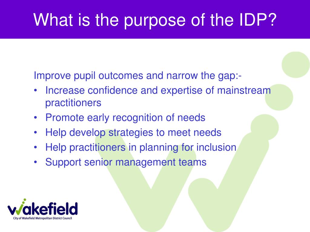 What is the purpose of the IDP?