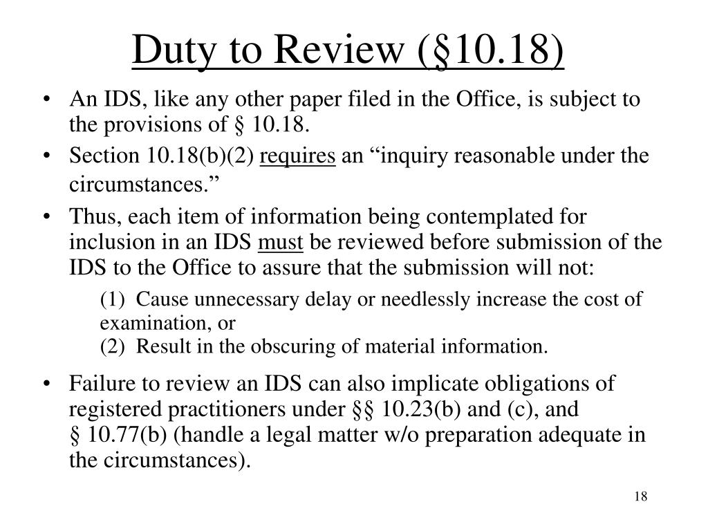 Duty to Review