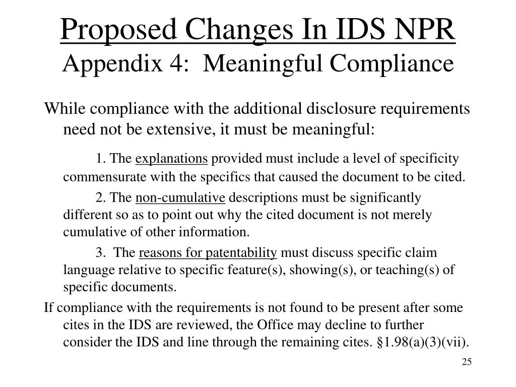 Proposed Changes In IDS NPR
