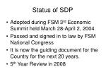 status of sdp