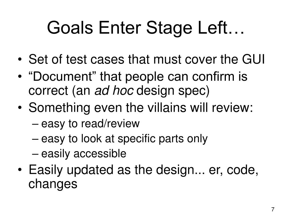 Goals Enter Stage Left…