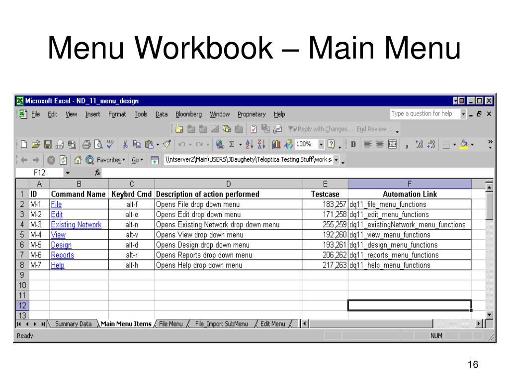 Menu Workbook – Main Menu