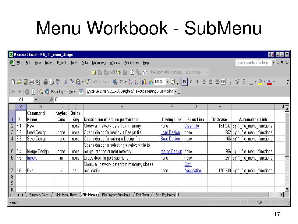 Menu Workbook - SubMenu