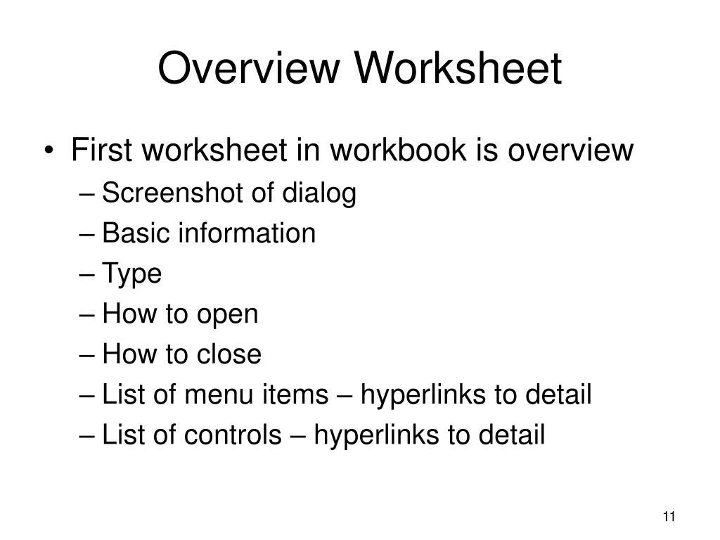 Overview Worksheet