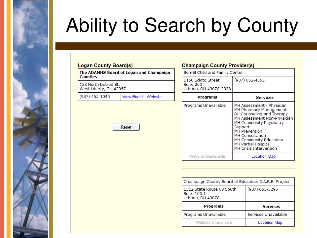 Ability to Search by County