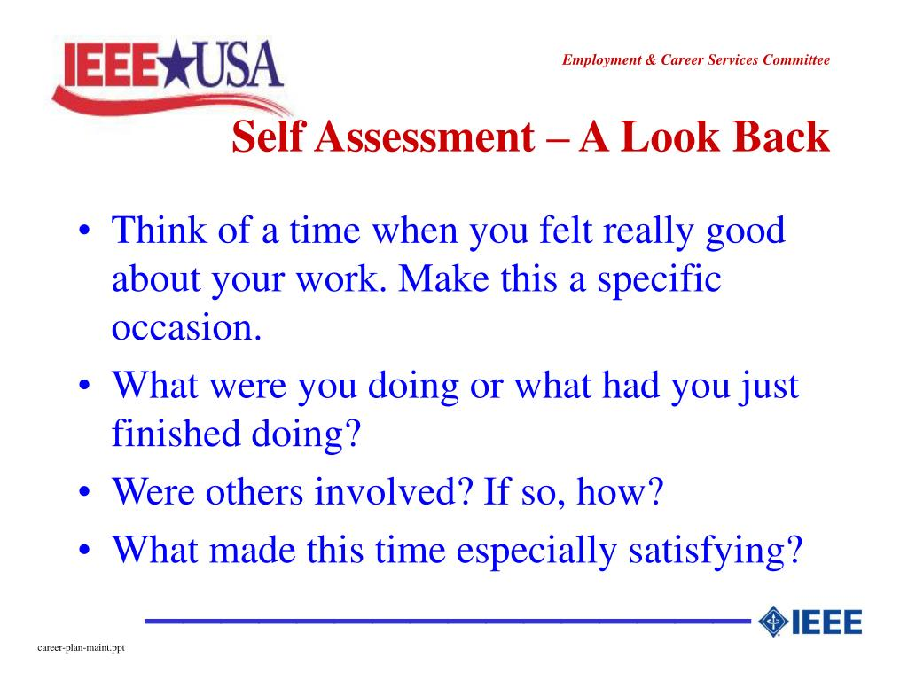 Self Assessment – A Look Back