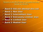 scores on the ielts test are graded into nine bands as follows