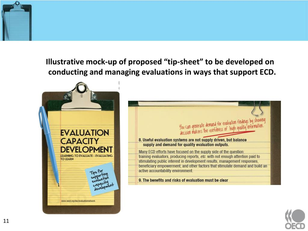 "Illustrative mock-up of proposed ""tip-sheet"" to be developed on conducting and managing evaluations in ways that support ECD."