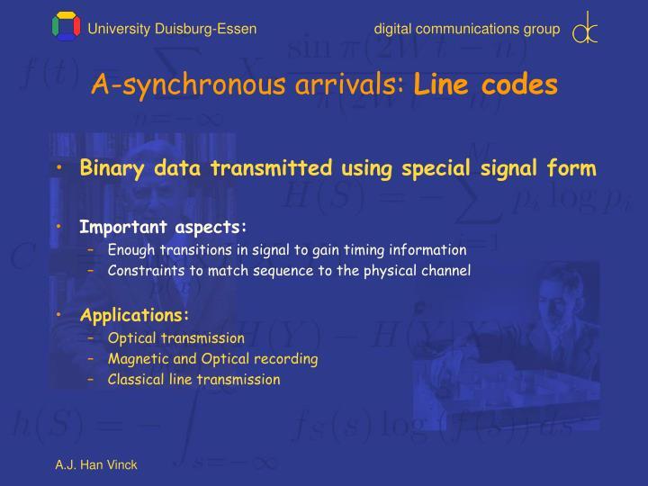 A synchronous arrivals line codes