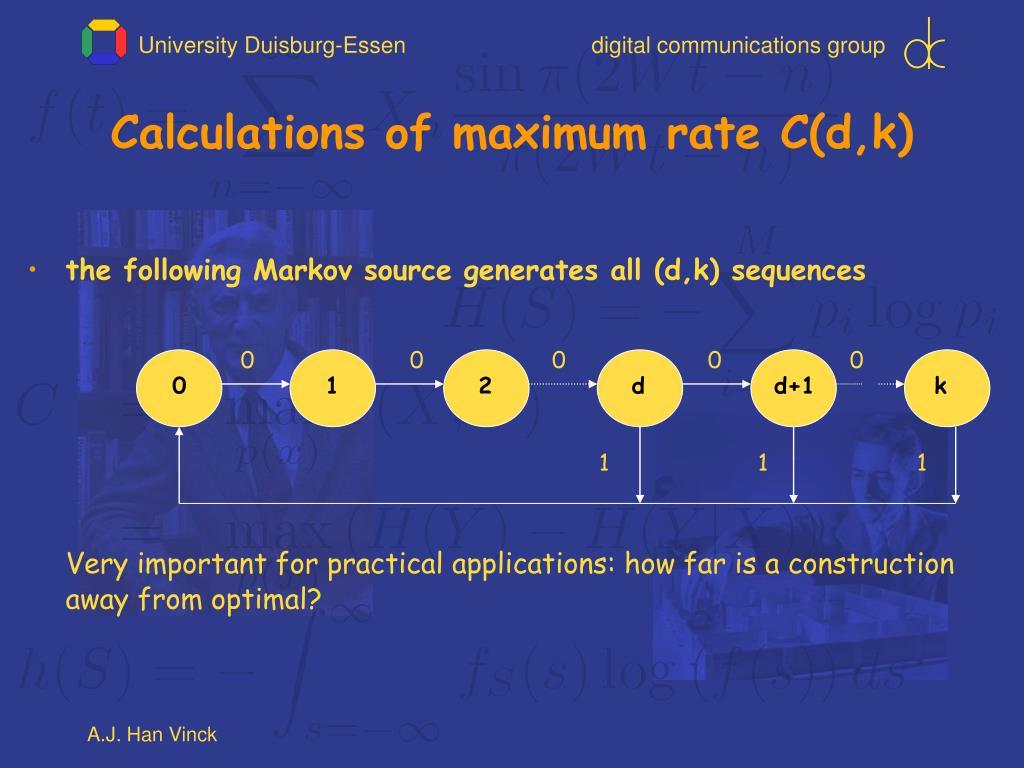 Calculations of maximum rate C(d,k)