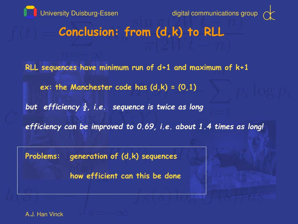 Conclusion: from (d,k) to RLL