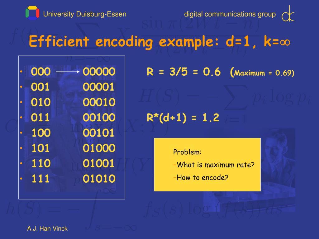 Efficient encoding example: d=1, k=
