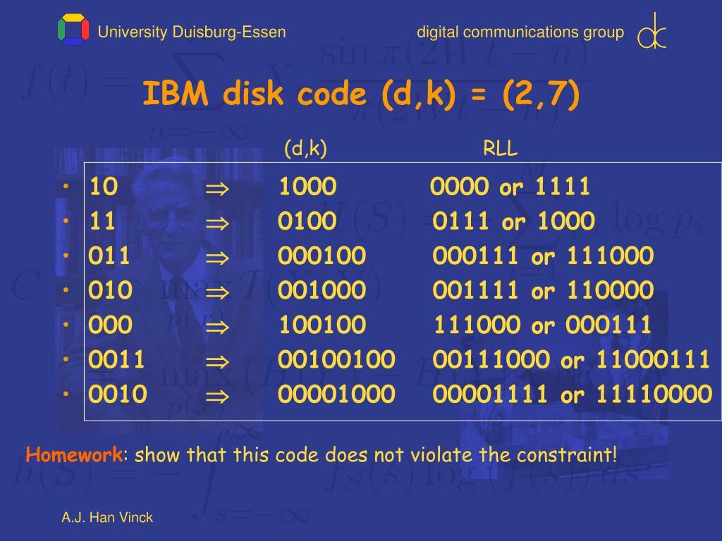 IBM disk code (d,k) = (2,7)