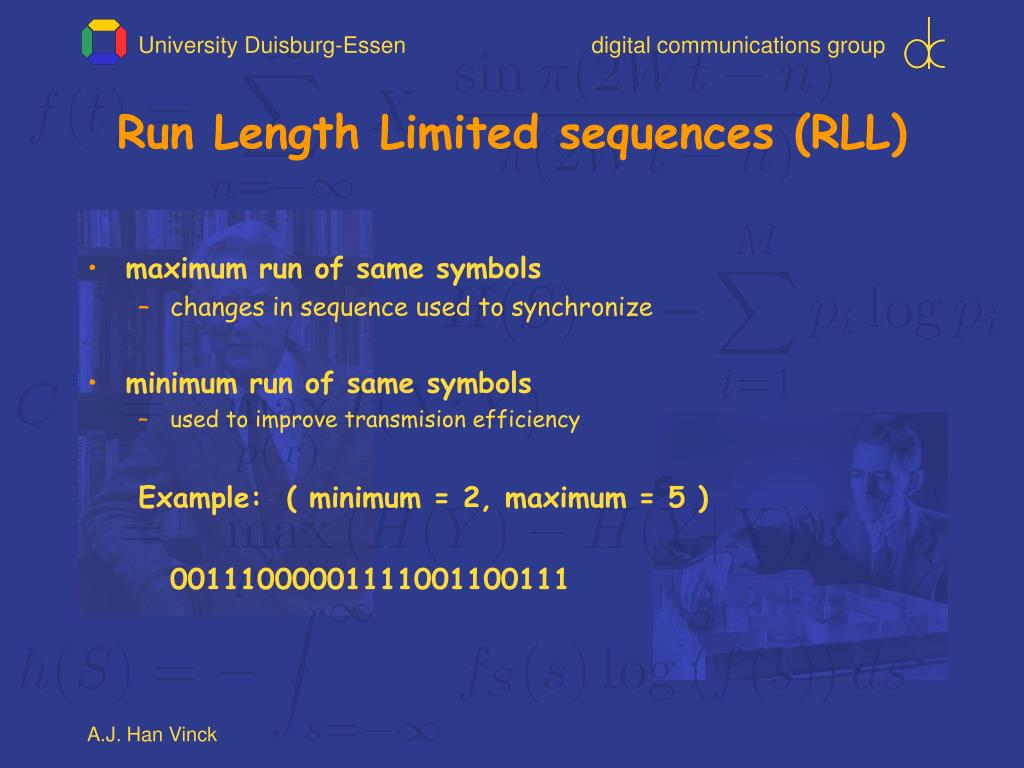 Run Length Limited sequences (RLL)
