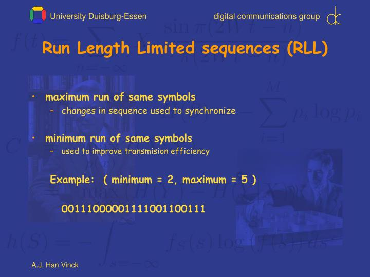Run length limited sequences rll