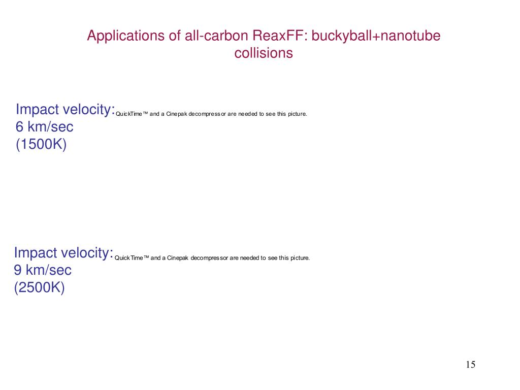 Applications of all-carbon ReaxFF: buckyball+nanotube collisions