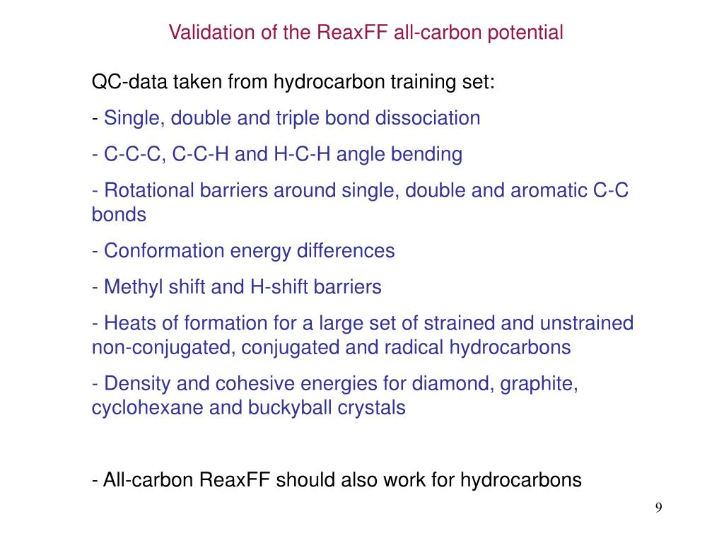 Validation of the ReaxFF all-carbon potential