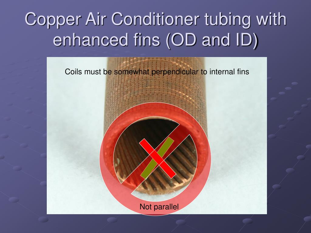 Copper Air Conditioner tubing with enhanced fins (OD and ID)