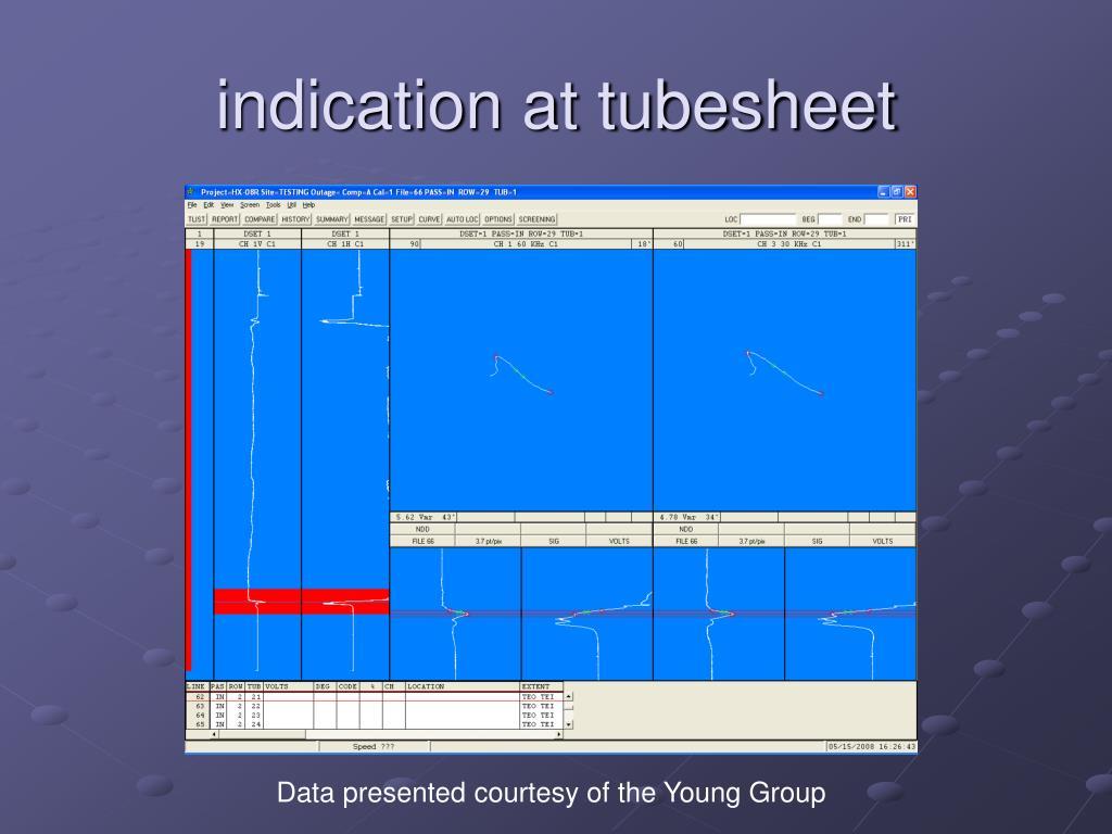 indication at tubesheet