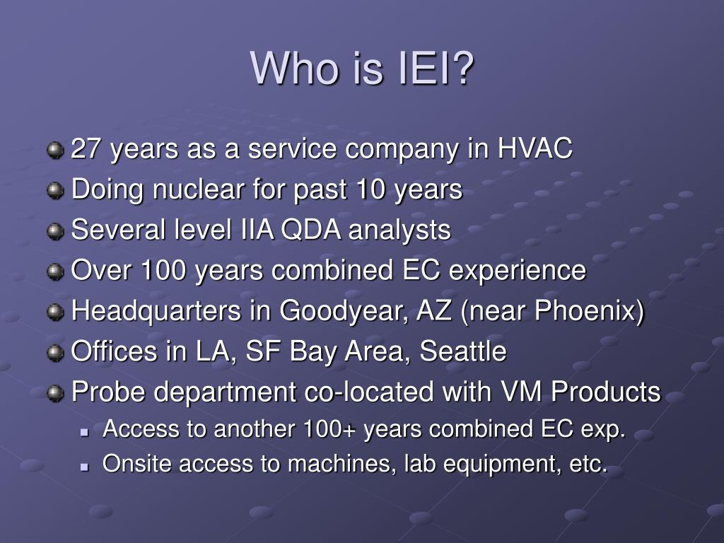 Who is IEI?
