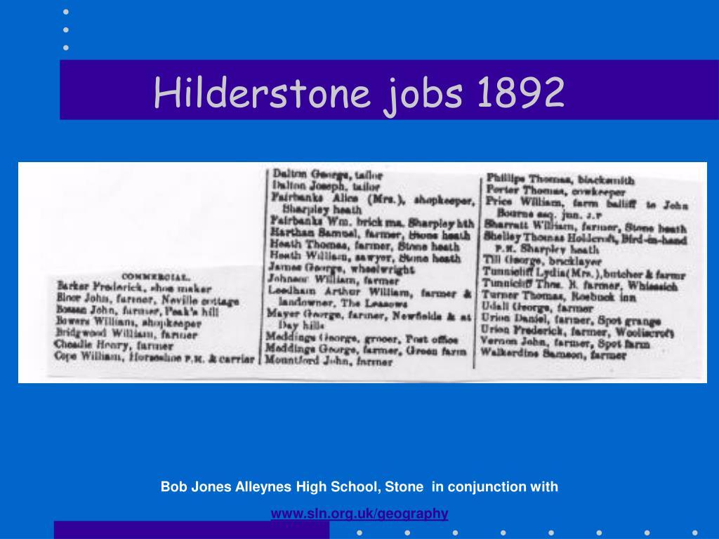 Hilderstone jobs 1892