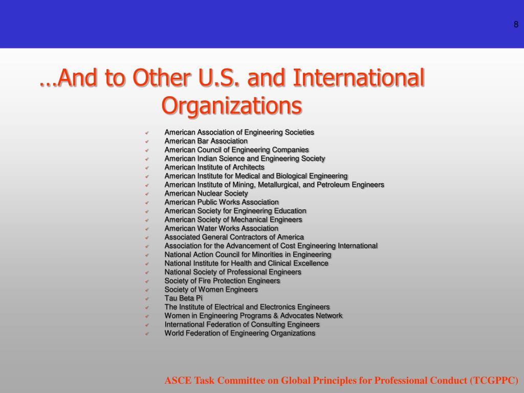 …And to Other U.S. and International Organizations