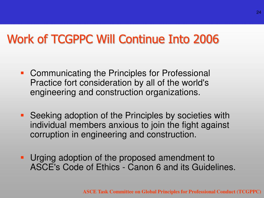 Work of TCGPPC Will Continue Into 2006