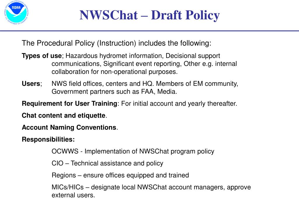 NWSChat – Draft Policy