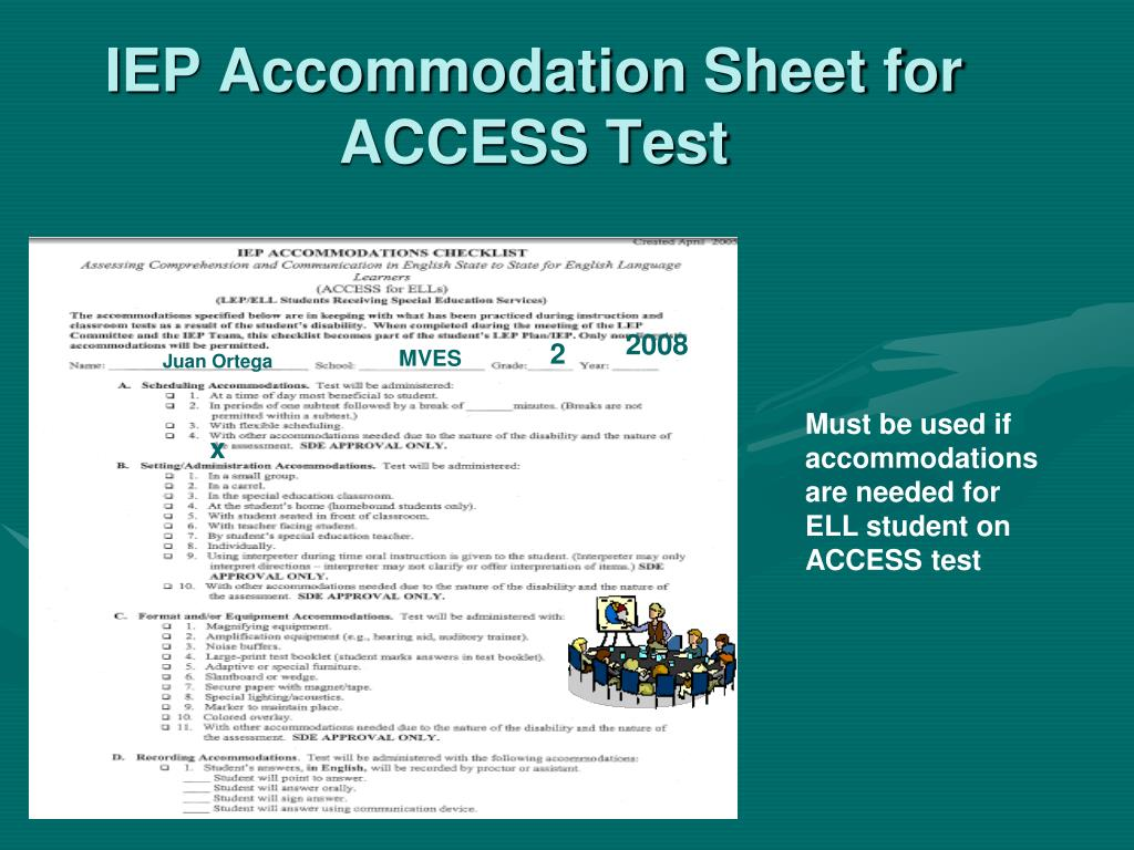 IEP Accommodation Sheet for