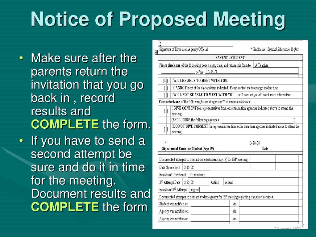 Notice of Proposed Meeting