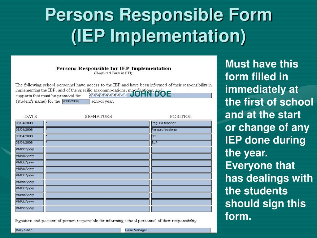 Persons Responsible Form