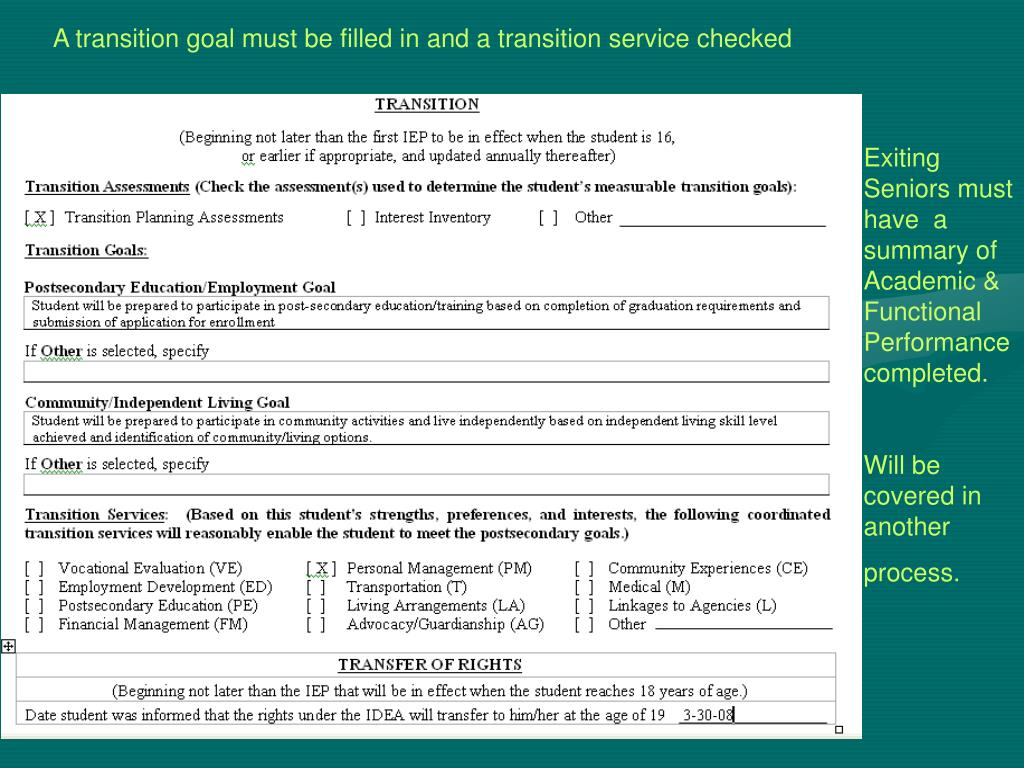 A transition goal must be filled in and a transition service checked