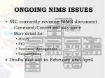 ongoing nims issues