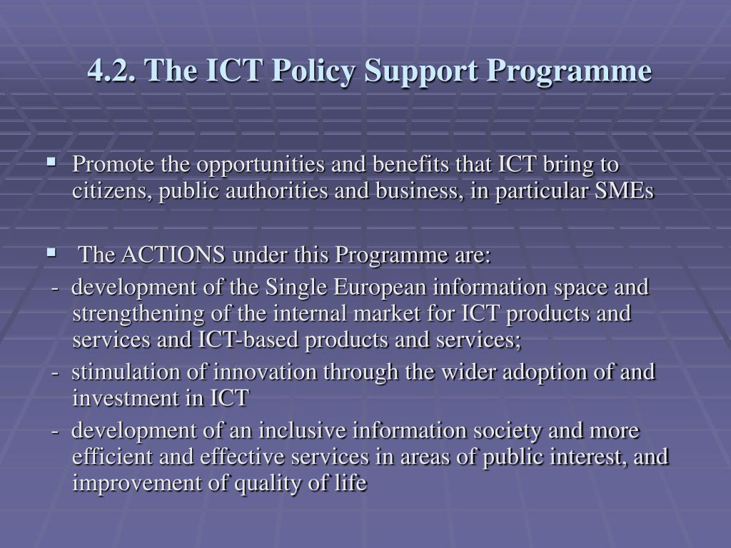 4.2. The ICT Policy Support Programme