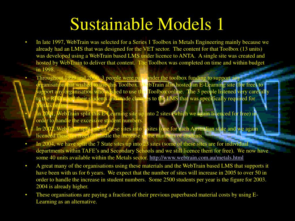 Sustainable Models 1