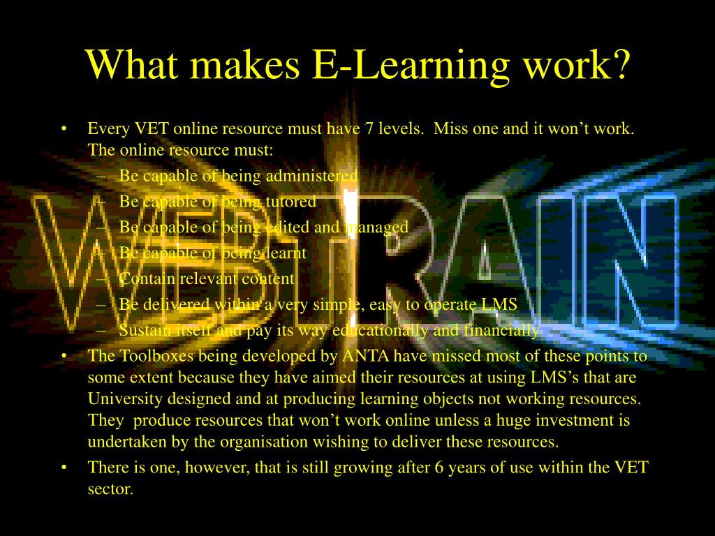 What makes E-Learning work?