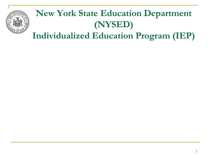 new york state education department nysed individualized education program iep n.