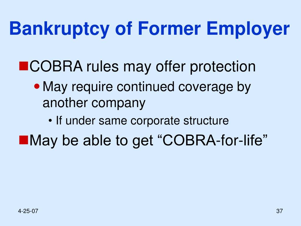 Bankruptcy of Former Employer