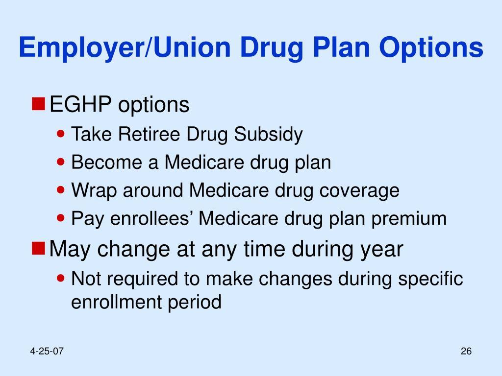 Employer/Union Drug Plan Options