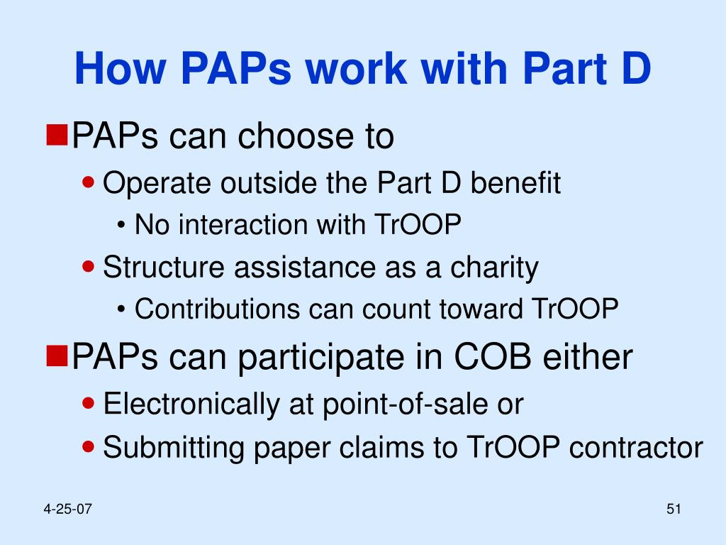 How PAPs work with Part D