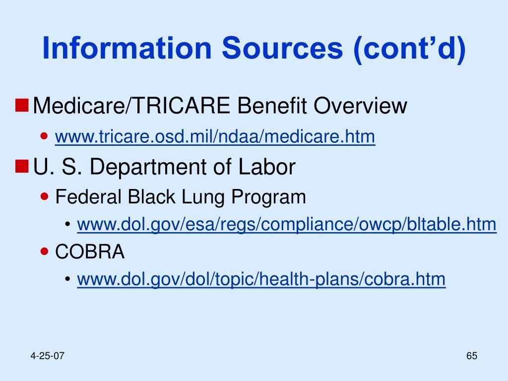 Information Sources (cont'd)