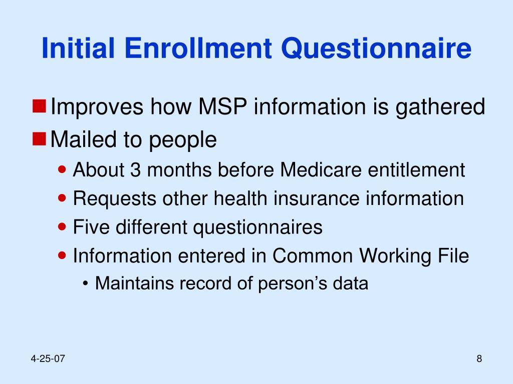 Initial Enrollment Questionnaire