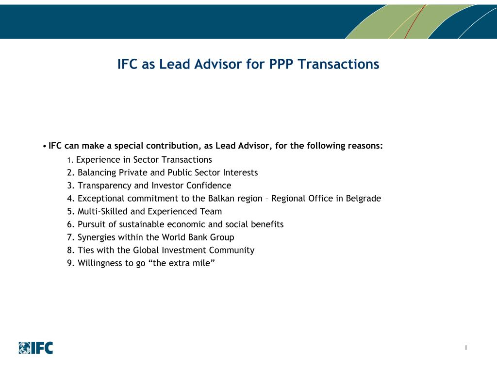 IFC as Lead Advisor for PPP Transactions
