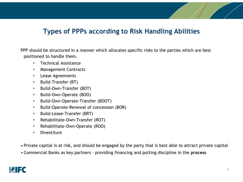 Types of PPPs according to Risk Handling Abilities