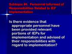 subtopic 4 personnel informed of responsibilities related to iep implementation