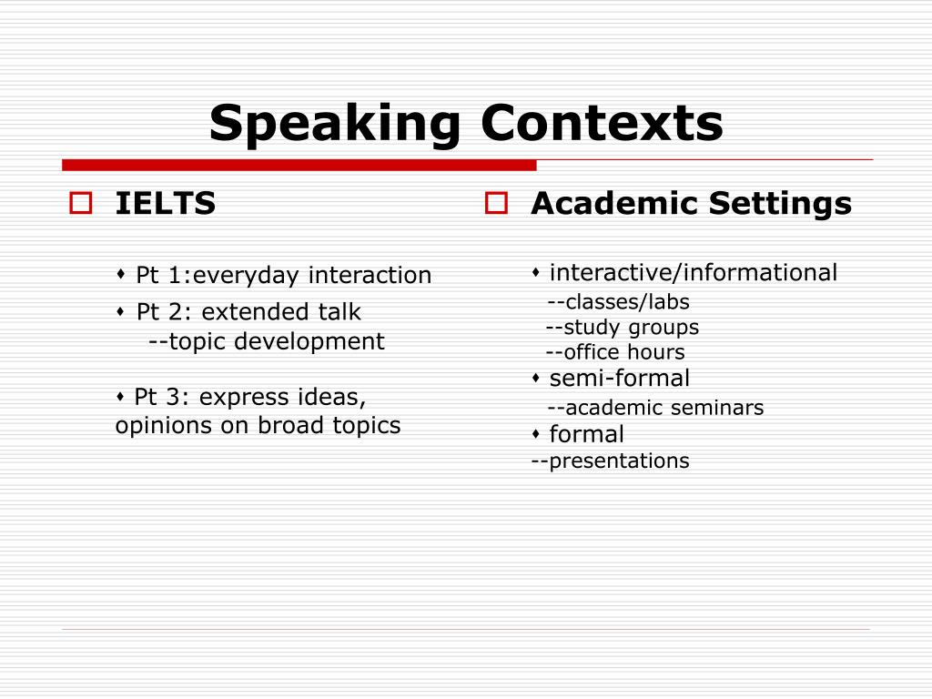 Speaking Contexts